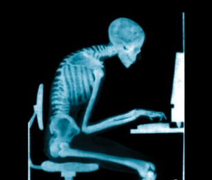 X-ray photo of person seated with Forward Head Carriage